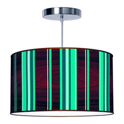jefdesigns - Vertical Stripey 1 Pendant Lamp - You'll adore the clean, green stripes interspersed with dark, glossy woodgrain accents on this pendant lamp's printed drum shade. Mix and match with pillows and throws; this bright lamp is a true work of art. It comes in five sizes with a bottom diffuser and braided cord.