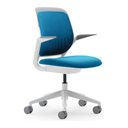 Steelcase - Steelcase Cobi Chair, Blue Jay and White - The Steelcas Cobi chair is an attractive and modern addition to any office.  Available in a couple of different color and frame combinations, you can easily find a configuration to match your palette and style.  Best of all?  This chair is highly affordable and includes Steelcase's awesome 12 year warranty.