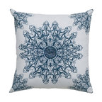 Rizzy Home - Rizzy Home White & Navy Medallion with Sequence Decorative Throw Pillow - T05018 - Shop for Pillows from Hayneedle.com! Classic colors and an intricate medallion design mean the Rizzy Home White & Navy Medallion with Sequence Decorative Throw Pillow will add style and softness to your room. A handsome accent pillow this one is made with a 100% cotton fabric cover printed with a navy blue medallion. Applique and sequins add detail. This pillow includes a hidden zipper and removable polyester insert. Spot clean only.About Rizzy HomeRizwan Ansari and his brother Shamsu come from a family of rug artisans in India. Their design color and production skills have been passed from generation to generation. Known for meticulously crafted handmade wool rugs and quality textiles the Ansari family has built a flourishing home-fashion business from state-of-the-art facilities in India. In 2007 they established a rug-and-textiles distribution center in Calhoun Georgia. With more than 100 000 square feet of warehouse space the U.S. facility allows the company to further build on its reputation for excellence artistry and innovation. Their products include a wide selection of handmade and machine-made rugs as well as designer bed linens duvet sets quilts decorative pillows table linens and more. The family business prides itself on outstanding customer service a variety of price points and an array of designs and weaving techniques.