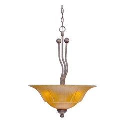 "Toltec - Toltec 224-BRZ-53819 Bronze Finish 3 Bulb Uplight Pendant with 20"" Tiger Glass - Toltec 224-BRZ-53819 Bronze Finish 3 Bulb Uplight Pendant with 20"" Tiger Glass"