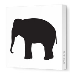"""Avalisa - Silhouette - Elephant Stretched Wall Art, 28"""" x 28"""", Black - Don't forget the walls when you're looking for ways to add color and whimsy. This elephant silhouette is printed on fabric in a zoo's worth of colors and sizes. Pick one or a pack of pachyderms for a circus-like parade around your child's room."""