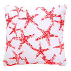 Star Fish Coral Throw Pillow Cover by Chloe & Olive - Starfish in bright red make this pillow a steal for a summer beach vibe.