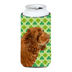 Caroline's Treasures - Sussex Spaniel St. Patrick's Day Shamrock Portrait Tall Boy Koozie Hugger - Sussex Spaniel St. Patrick's Day Shamrock Portrait Tall Boy Koozie Hugger Fits 22 oz. to 24 oz. cans or pint bottles. Great collapsible koozie for Energy Drinks or large Iced Tea beverages. Great to keep track of your beverage and add a bit of flair to a gathering. Match with one of the insulated coolers or coasters for a nice gift pack. Wash the hugger in your dishwasher or clothes washer. Design will not come off.