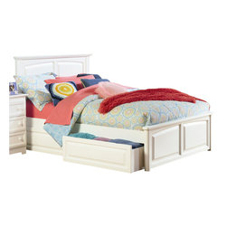 Atlantic Furniture - Atlantic Furniture Monterey Platform Bed with Raised Panel Footboard in White-Tw - Atlantic Furniture - Beds - AP8624002