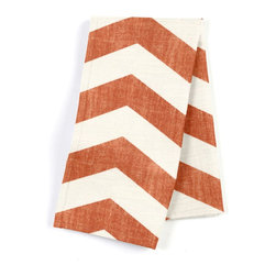Orange & White Chevron Custom Napkin Set - Our Custom Napkins are sure to round out the perfect table setting'whether you're looking to liven up the kitchen or wow your next dinner party. We love it in this graphic chevron in a washed pumpkin orange & ivory on lightweight linen adds a punch of color to the contemporary home.