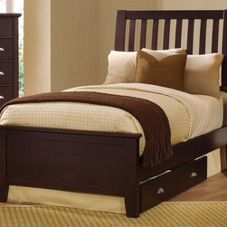 Vaughan Bassett - Twin Size Slat Bed in Merlot Finish - Includes slat headboard, platform footboard and wood rails. Merlot finish. Assembly required. Slat headboard: 41 in. L x 4 in. W x 52 in. H. Platform footboard: 42 in. L x 2.5 in. W x 21 in. H. Wood rails: 74 in. L x 6 in. W x 1 in. H. Under bed storage box: 52 in. L x 19 in. W x 7.5 in. H (optional)