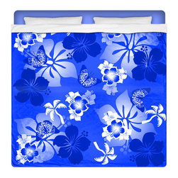 """Eco Friendly King Size Hawaiian """"Aloha Blue"""" Hibiscus and Butterflies Sheet Set - Our """"Aloha Blue"""" King Size Hawaiian Hibiscus Sheet Set is made of a lightweight microfiber for the ultimate experience in softness~ extremely breathable!"""