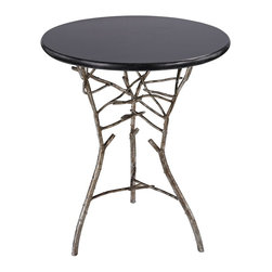 Lazy Susan - Lazy Susan 1481005 Thicket Side Table - Stylish and sophisticated this side table is formed from solid cast iron and finished in a silver leaf finish with antique, this heavy weight side table is finished with a marble top.