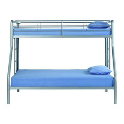 Dorel Home Products - Twin Over Full Metal Bunk Bed - NOTE: ivgStores DOES NOT offer assembly on loft beds or bunk beds. Mattresses sold separately. Full length guardrails for upper bunk for safety. Accommodates one standard twin and one standard full mattress. Warranty: One year. Made from metal. 78 in. L x 56.8 in. W x 61 in. H (115 lbs.). Bunk Bed Warning Please read before purchase.It is a great sleeping solution if one child is three to five years older than the other child or if one sibling needs more room.
