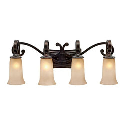 Golden Lighting - Portland 4-Bulb Vanity Light - Includes socket tool. Bulbs not included. Requires four incandescent type A 100 watt medium base bulbs. Four E27 sockets. Total wattage: 400. Electric wire gauge: 3321 18# 150 degree C. Traditional style. Flowing arms. Gold accents. Elongated hand painted birch glass shade. Provides well diffused light over vanity or mirror for grooming. UL listed damp location for use in bathroom or under an eave. Made from metal and polyresin. Antique fired dark bronze color. Wire length: 8 in.. Extension: 8 in.. Back plate: 15.25 in. W x 6 in. H. Glass shade: 5.25 in. Dia. x 8 in. H. Overall: 32 in. W x 12.5 in. H (14.6 lbs.). Warranty. Assembly Instructions