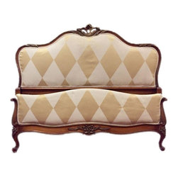 Pre-owned Antique French Provincial Double Bed - A beautiful antique French Provincial double bed. The headboard and footboard are covered in bold diamond print fabric in creme and gold and the wood frame features elegant carved details. Please note, this listing is for headboard and footboard only.