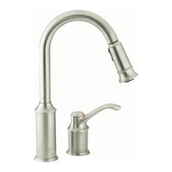 "Moen - Moen 7590CSL Classic Stainless Aberdeen Single Handle Kitchen Faucet - Product Features:Faucet body constructed of metal to ensure durability and dependabilityCovered under Moen s limited lifetime faucet warrantyFinishes resist corrosion and tarnishing through everyday use - finish covered under lifetime warrantyThe Aberdeen line features a classic style yet surprisingly nimble functionalityMoen sets the standard for exceptional beauty and innovative reliable designSingle handle operation for ease of usePullout spray faucet head with 68"" hose enhances faucets versatilitySpout swivels 360-degrees providing greater access to more areas of the sinkHigh-arch gooseneck spout design provides optimal room under the faucet for any size taskADA compliantLow lead compliant - faucet meets federal and state regulations for lead contentProduct Technologies / Benefits:Reflex: A technological innovation created based on input from actual faucet users, Reflex is made to work the way you do. Featuring exceptional range of motion, the spray wand on Reflex faucets swivels to optimize maneuverable range. Only pulldown faucets with the Reflex system will retract back to the docked position from any distance without assistance. Compared to other pulldown designs Reflex will also make the spray head up to 40% easier to unlatch.Duralast Cartridge: An exciting new proprietary cartridge design that offers a smooth feel and reliable operation of a new faucet from the first use to the last use. This new cartridge combines innovative engineering and the highest quality materials. It surpasses conventional durability standards to withstand the toughest conditions, including hard water.LifeShine Non-Tarnish Finish: Moen LifeShine finishes are guaranteed not to tarnish, corrode or flake off for the duration of their life. Providing the durabilit"