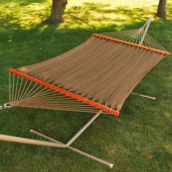 Algoma 12' Tight Weave Soft Polyester Rope Hammock - There is no better way to relax in the sun or shade. This hammock is made of a tight weave golden brown soft polyester rope. It is securely anchored with hand turned spreader bars. Stability is guaranteed with the oversized plated O-ring and hardware. No matter where or when you want to relax, choose a hammock.