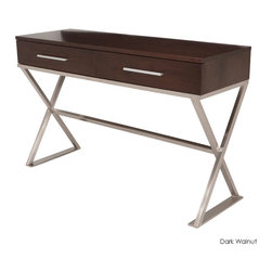 Nuevo Living - Kravate Console Table, Dark Walnut Veneer - This surface-and-storage piece defines contemporary design. Its sleek cross-legged stainless steel base, walnut veneer body and brushed aluminum hardware combine in style and functionality for your favorite setting.