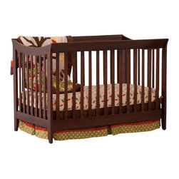 Stork Craft - Stork Craft Giovanna 2-in-1 Fixed Side Convertible Crib in Espresso - Stork Craft - Cribs - 04567239 - The Giovanna 2-in-1 Crib is Stork Craft's contemporary twist on a  classic sleigh design. With its simple elegance and ability to convert  to a full-size bed (with the separate purchase of a full-size  double-ended mattress rail) the Giovanna is the perfect crib for both  form and function.