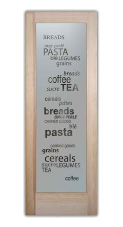 Sans Soucie Art Glass - Pantry Door - Pantry Goods Etched Glass Door, 24 X 1.375 X 80 - Pantry Door - Pantry Goods - Quality, hand-crafted sandblast etched glass.