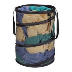 Household Essentials - Pop Up Hamper, Black Mesh - Laundry storage springs to life time and again with this multitasking pop-up hamper. Its strong and flexible steel frame lets this hamper fold flat for storage and spring back to its original shape quickly and easily.