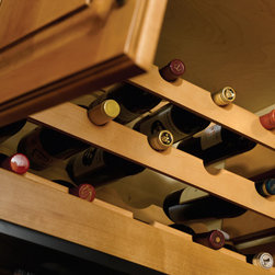 Solid Wood Wine Bottle Rack - Omega National's solid wood wine bottle rack. A great alternative to wine bottle lattice panels, and is easily trimmed for and installed in any size cabinet or shelf. Stack multiple units for a custom display. Sanded and ready to finish.