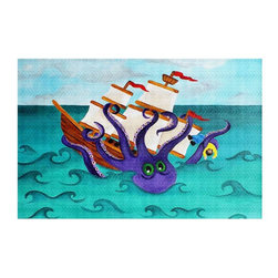 DiaNoche Designs - Area Rug by nJoy Art - Kraken - Finish off your bedroom or living space with a woven Area Rug with Chevron pattern  from DiaNoche Designs. The last true accent in your home decor that really ties the room together. Maybe its a subtle rug for your entry way, or a conversation piece in your living area, your floor art will continue to dazzle for many years. 1/4 thick. Each rug is machine loomed, washed and pre-shrunk, printed, then hemmed on the edges.   Spot treat with warm water or professionally clean. Dye Sublimation printing adheres the ink to the material for long life and durability