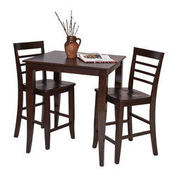 Office Star - Office Star Jamestown 3 Piece Pub Set in Espresso - Office Star - Pub Sets - JT432424PKG - Office Star Jamestown Pub Table in Espresso Finish