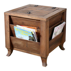 Rimmon Side Table - Declutter without forsaking design. The Rimmon Side Table is fashioned from reclaimed fir wood that has been sun faded and weathered over time. The handsome style of this storage cube features magazine slots on the outside and concealed space inside. The top door opens with a metal ring pull and safety hinge. Placed within a media room, home office, great room, or master suite, this transitional table is as practical as it is beautiful.