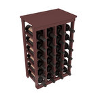24 Bottle Kitchen Wine Rack in Pine with Walnut Stain - Petite but strong, this small wine rack is the best choice for converting tiny areas into big wine storage. The solid wood top excels as a table for wine accessories, small plants, or whatever benefits the location. Store 2 cases of wine in a space smaller than most televisions!