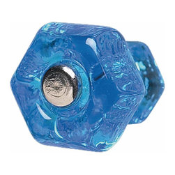 Renovators Supply - Cabinet Knobs Peacock Blue Glass 1'' Dia Cabinet Knob | 11062 - Peacock blue glass cabinet knob has a chrome screw. 1 in. diameter knob.
