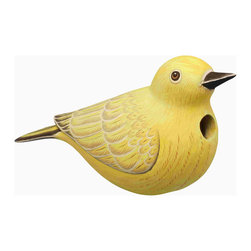 Songbird Essentials - Yellow Warbler Birdhouse - Songbird Essentials adds color and whimsy to any garden with our beautifully detailed wooden birdhouses that come ready to hang under the canopy of your trees. Hand-carved from albesia wood, a renewable resource, each birdhouse is hand painted with non-toxic paints and coated with polyurethane to protect them from the elements. By using all natural and nontoxic components Songbird Essentials has created a safe environment complete with clean-out for our feathered friends.