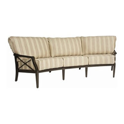 Woodard - Woodard Andover Sofa - The name Woodard Furniture has been synonymous with fine outdoor and patio furniture since the 1930s continuing the company�s furniture craftsmanship dating back over 140 years. Woodard began producing hand-made wrought iron furniture which led the company into cast and tubular aluminum furniture production over the years.� Most recently Woodard patio furniture launched its entry into the all-weather wicker furniture market with All Seasons which is expertly crafted and woven using synthetic wicker supported by an aluminum frame.� The company is widely known for durable beautiful designs that provide attractive and comfortable outdoor living environments.� Its hand-crafted technique used to create the intricate design patterns on its wrought iron furniture have been handed down from generation to generation -- a hallmark of quality unmatched in the furniture industry today. With deep seating slings and metal seating options in a variety of styles Woodard Furniture offers the designs you want with the quality you expect.  Woodard aluminum furniture is distinguished by the purest aluminum used in the manufacturing process resulting in an extremely strong durable product which still can be formed into flowing shapes and forms.� The company prides itself on the fusion of durability and beauty in its aluminum furniture offerings. Finishes on Woodard outdoor furniture items are attuned to traditional and modern design sensibilities. Nineteen standard frame finishes and nineteen premium finishes combined with more than 150 fabric options give consumers countless options to design their own dream outdoor space. Woodard is also the exclusive manufacturer of outdoor furnishings designed by Joe Ruggiero home decor TV personality.� The Ruggiero line includes wrought iron aluminum and all weather wicker designs possessing a modern aesthetic and fashion-forward styling inspired by traditional Woodard patio furniture designs. Rounding out Woodard�s offerings is a line of distinctive umbrellas umbrella bases and outdoor accessories.� These offerings are an integral part of creating a complete outdoor living environment and include outdoor lighting and wall mounted or free standing architectural elements � all made with Woodard�s unstinting attention to detail and all weather durability. Woodard outdoor furniture is an American company headquartered in Coppell Texas with a manufacturing facility in Owosso Michigan.� Its brands are known under the names of Woodard Woodard Landgrave and Woodard Lyon Shaw. With a variety of collections Woodard produces a wide array of collections that will be sure to suit any taste ranging from traditional to contemporary and add comfort and style to any outdoor living space. With designs materials and construction that far surpass the industry standards Woodard Patio Furniture creates beauty and durability that is unparalleled.  Features include Very durable and light weight aluminum material Minimal maintenance required Suitable to be used anywhere outside Available in various powdered coated finishes Offered in wide variety of fabric options for cushions Super comfortable high quality cushions designed for extreme comfort Commercial Grade. Specifications Seat Height: 20 inches.