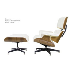 "IFN Modern - Eames Style Lounge Chair w/ Ottoman (Aniline Leather White with Walnut) - Chair Dimensions: 34"" H x 33\"" W x 33\"" DOttoman Dimensions: 16.9\"" H x 25.6\"" W x 20.9\"" DTop grain leather on all parts 