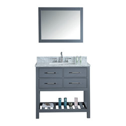 """Ari Kitchen and Bath - Manhattan 36"""" Grey Transitional Style Bathroom Vanity and Mirror - Beautiful transitional style bathroom vanity by Ari Kitchen and Bath, a new brand manufacturing quality bathroom decor at affordable prices. The new 36"""" Manhattan comes with 1"""" edge Italian carrara marble top, back splash, rectangle under mount CUPC basin, soft-closing drawers, concealed drawer hinges, framed mirror and solid wood bathroom cabinet. Absolutely no MDF or Particle board on any of our bathroom vanities. All of our bathroom vanities come completely assembled by the manufacturer, minimal assembly required."""