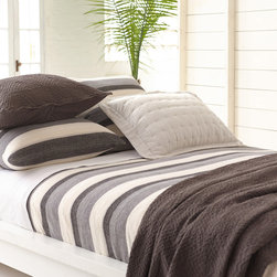 """Pine Cone Hill - PCH Montego Stripe Gray Chenille Blanket - The PCH Montego blanket delivers a casual yet contemporary design. Soft and sophisticated, this chenille throw features a cool gray and cream striped pattern.  100% cotton; Professional cleaning recommended; Available in twin, full/queen and king sizes; Designed by Pine Cone Hill, an Annie Selke company Twin: 68""""W x 88""""H; Full/queen: 88""""W x 88""""H; King: 102""""W x 92""""H"""