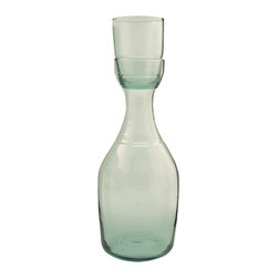 Be Home - Recycled Glass And Carafe Set, Large - Here's to this smart stackable set. The glass nestles neatly to seal the carafe when not in use. The bonus? Both pieces are made from recycled soda bottles.