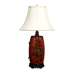 China Furniture and Arts - Tibetan Drum Lamp With Silk Shade - An antique Tibetan drum was collected and made as the base of this unique lamp. The exuberant color carries the Tibetan festivity atmosphere and would brighten up any surrounding. Max 75-watt.
