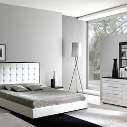 Made in Spain Leather Modern Furniture Design Set with Extra Storage - Luxury white bedroom w/storage by dupen Spain. This bedroom set offers an elegant blend of traditional elements with modern simplicity of lines that produces a unique and rich flair perfect for any contemporary bedroom.