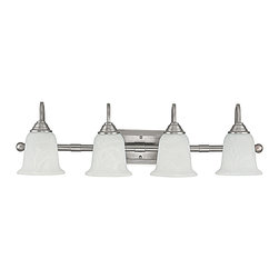 """Capital Lighting - Metro 4-Light Vanity Fixture - Matte Nickel/Alabaster - Metro 4-Light Vanity Fixture.  Available in Burnished Bronze finish with Mist Scavo glass shades or Matte Nickel finish with Faux White Alabaster glass shades.  Takes four 100W bulbs.  UL Listed.  Rated for Damp locations.  Backplate: 9""""w x 5"""" h"""