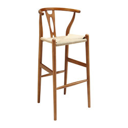 "Modway - Hourglass Bar Stool in Walnut - The sands of times flow effortlessly through the Hourglass wooden bar stool. The craftsmanship is evident throughout a piece that appears simultaneously both petite and boldly courageous. While Hourglass was named after the transitional feel of the solid beechwood back and base, the result is a design that appears most enduring. With the footrest appearing on a lower level than the supporting side slats, throughout Hourglass develops this interplay between permanence and sequential movements forward. The seat is made of paper rope, a new twine that is eco-friendly, soft, anti-static and durable. Set Includes: One - Hourglass Wood Bar Stool. Modern bar stool; Solid beech wood; Paper rope/twine seat; No assembly required; Overall Product Dimensions: 19""L x 19""W x 40""H; Seat Dimensions: 15""L x 17.5""W x 28.5""H; Backrest Height: 12""H"