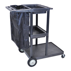 Luxor - Luxor Janitorial Cart - JCB30-B - This JCB30-b Janitorial cart is made from heavy-duty polyethylene construction. The structural foam molded cart will not chip, crack or rust