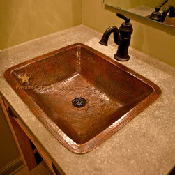 Premier-Copper-Products - Rectangle Under Counter Copper Bathroom Sink - LREC19DB Premier Copper Products Rectangle Under Counter Hammered Copper Bathroom Sink