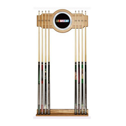 Trademark Global - NASCAR Billiard Cue Rack w Mirror - Holds up to eight cues. 8 in full color NASCAR logo on mirror. Made from wood. Veneered oak finish. No assembly required. Mirror: 10.5 in. Dia.. Rack base: 28 in. W x 3 in. D x 3.13 in. H. Rack top: 28 in. W x 1.75 in. D x 13.25 in. H. Overall: 30 in. L x 13 in. W x 4 in. H (9 lbs.)You have a great pool table and all the accessories, but you cant walk through your game room without tripping over pool cues. Why not treat yourself to this officially licensed NASCAR high end furniture grade cue rack. Protect your cue tips along with the pictures on the wall while supporting one of your favorite teams. This two piece oak veneered wood cue rack is highlighted with an inlaid mirror that has the full color NASCAR. There will be no more looking around the room to find the break stick with this officially licensed NASCAR cue rack on your wall.
