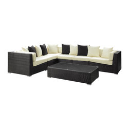 Modway Furniture - Modway Lambid 7 Piece Sectional Set in Espresso White - 7 Piece Sectional Set in Espresso White belongs to Lambid Collection by Modway Plumb the depths to stimulate the creative faculties. Decipher the enigmatic and perfect awareness will emerge. Lambid's spaciousness will unravel riddles and enhance the senses while you correctly demonstrate the ability to imagine. Set Includes: One - Lambid Outdoor Wicker Patio Coffee Table One - Lambid Outdoor Wicker Patio Corner Section One - Lambid Outdoor Wicker Patio Left Arm Section One - Lambid Outdoor Wicker Patio Right Arm Section Three - Lambid Outdoor Wicker Patio Armless Sections Coffee Table (1), Corner Section (1), Left Arm Section (1), Right Arm Section (1), Armless Section (3)