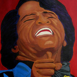 "James Brown Artwork - Say it loud! This painting of ""The Godfather of Soul"" is dramatic. The founder of funk music, James Brown, is artistically depicted by artist Anthony Dunphy. Famous for his intensity and dance moves, the vibrant portrait captures the singer during one of his performances."