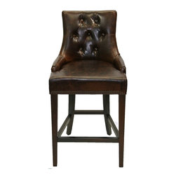 ARTeFAC - Vintage Antique Brown and Coco Top Grain Leather Bar/Counter Stool, Coco Leather - Vintage Antique Brown and Coco Top Grain Leather Bar/Counter Stool
