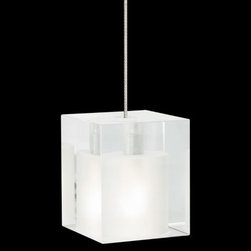 """Tech Lighting - Cube Pendant by Tech Lighting - The classic geometric shape of a cube is used to create a lighting design that will never go out of style. The Tech Lighting Cube Pendant has a square pressed glass shade available in several jewel-toned colors to work within a variety of contemporary color schemes. For mounting options, see below.Tech Lighting, headquartered in Skokie, IL, is known for their innovative lighting systems and exquisite lighting designs. Their passion for art, sophistication and imagination is balanced by rigorous testing and quality control in the creation of their line-voltage and low-voltage lighting, including the Tech Lighting FreeJack and monorail systems and track heads.The Tech Lighting Cube Pendant is available with the following:Details:Pressed glass shade with frosted interiorPyrex glass shieldCeiling canopy finish matches finish option selected72"""" field-cuttable suspension cableLow-voltageETL ListedOptions:Finish: Antique Bronze, Chrome (shown), or Satin Nickel.Mounting: Freejack, Monopoint, Monorail, or Two-Circuit Monorail.Shade: Amber, Cobalt, or Frost (shown).Mounting Details:Freejack: See Related Items for mounting options.Monopoint: Includes one 4"""" round flush canopy and low-voltage transformer.Monorail: Includes Freejack adaptor for Monorail installation.Two-Circuit Monorail: Includes Freejack adaptor for Two-Circuit Monorail installation.Lighting:One 35 Watt 12 Volt Bi-Pin Low-voltage Halogen lamp (included).Shipping:This item usually ships within 3 to 5 business days."""