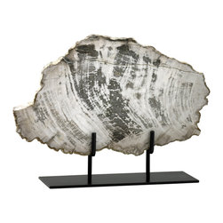 """Kathy Kuo Home - Roswell Large Petrified Wood Fragment Sculpture - There's nothing """"petrifying"""" about the age of this beautiful specimen - its age is simply beyond comprehension.  Organic, earthy and timeless, this beautifully mounted piece of petrified wood will look great in any contemporary space."""
