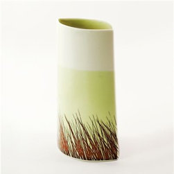 Gleena Ceramics Porcelain Boat Vase : Grass - Classic and subtle with a modern sensibility, this impeccably handmade porcelain vase is sure to grace any home. Serene and timeless, we adore the sophisticated nod to nature and the unique boat shape. Features a lovely lime green / chartreuse swath of color.