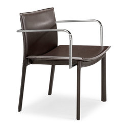 ZUO MODERN - Gekko Conference Chair Espresso (set of 2) - This handsome leatherette wrapped chair has eclectic design cues with funky lines, chrome arms, and with a fully wrapped leatherette body. The Gekko comes in black, white, and espresso.