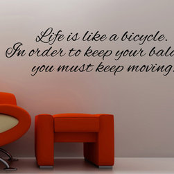 StickONmania - Life Is Like a Bicycle Sticker - Interesting and inspirational quotes for your home. Decorate your home with original vinyl decals made to order in our shop located in the USA. We only use the best equipment and materials to guarantee the everlasting quality of each vinyl sticker. Our original wall art design stickers are easy to apply on most flat surfaces, including slightly textured walls, windows, mirrors, or any smooth surface. Some wall decals may come in multiple pieces due to the size of the design, different sizes of most of our vinyl stickers are available, please message us for a quote. Interior wall decor stickers come with a MATTE finish that is easier to remove from painted surfaces but Exterior stickers for cars,  bathrooms and refrigerators come with a stickier GLOSSY finish that can also be used for exterior purposes. We DO NOT recommend using glossy finish stickers on walls. All of our Vinyl wall decals are removable but not re-positionable, simply peel and stick, no glue or chemicals needed. Our decals always come with instructions and if you order from Houzz we will always add a small thank you gift.