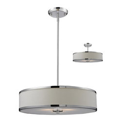 Three Light Chrome White Shade Drum Shade Pendant - A white colored shade is paired with chrome bands and hardware to create a simple, contemporary look. This pendant includes an acrylic diffuser to soften the light. For a customized look, adjustable rods are included to ensure the perfect look. This pendant also comes able to be installed as a semi flush fixture.