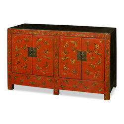 "China Furniture and Arts - Vintage Tibetan Cabinet - Tibetan furniture art is manifested in this vintage distressed red sideboard. The butterfly motif represents the personality of Tibetan people, who are passionate about life. This sideboard contains two double doors and one removable shelf behind for your storage convenience (interior 23.25""W x 13""D x 26""H). Perfect for foyer, living room, and bedroom. Completely hand-constructed of Elmwood with hand forged iron hardware. Perfect as a sideboard in the dining room or media cabinet in the living room (cable outlets can be made upon request). It is a one-of-a-kind item and will last for generations to admire."